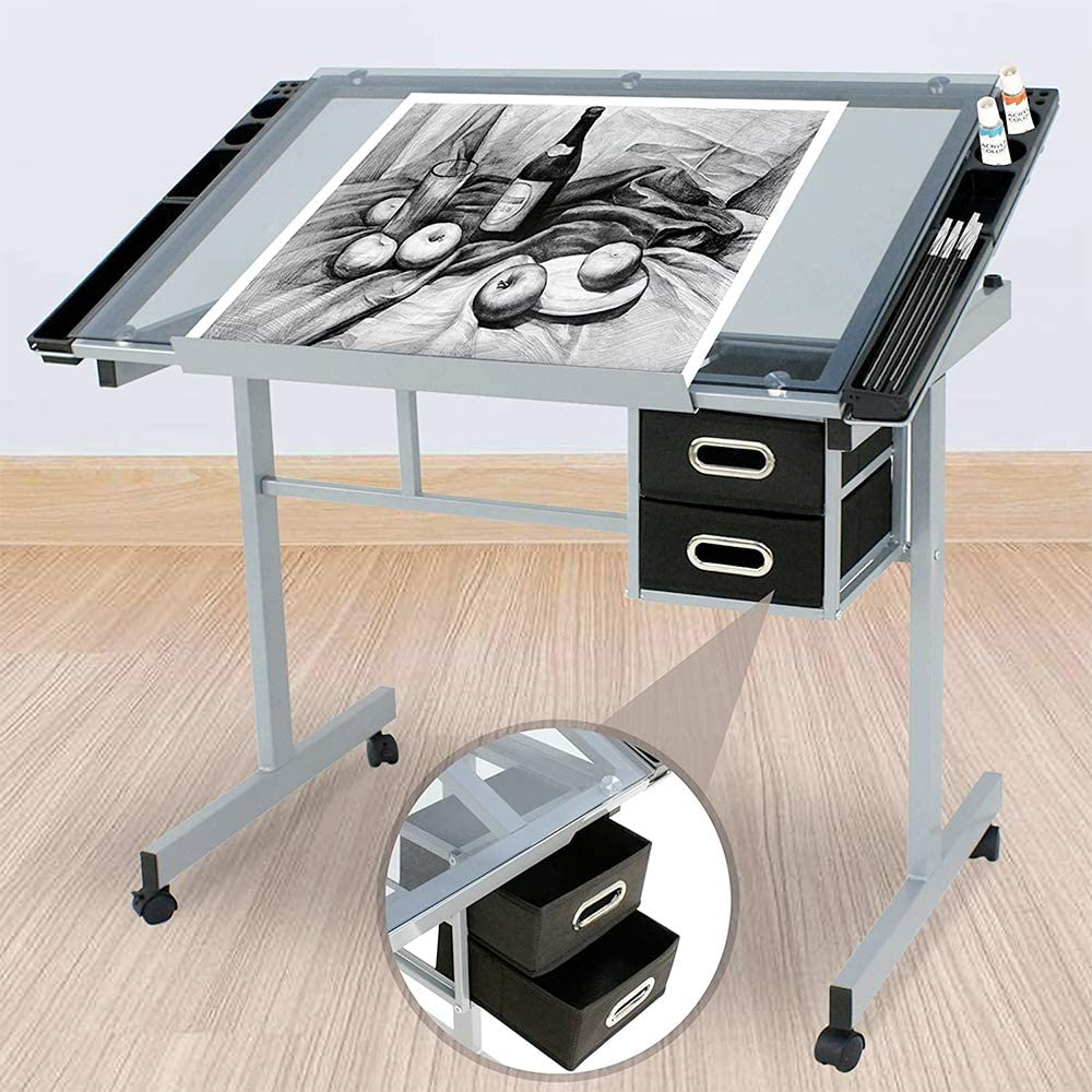 Nova Glass Top Adjustable Drafting Table